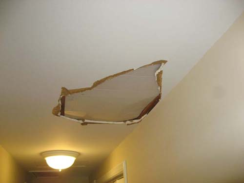 Then There Was An Oops This Weekend As Well Time One Of The Workers Manages To Put His Foot Through Hall Ceiling